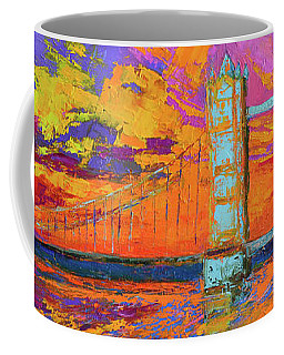 Coffee Mug featuring the painting Tower Bridge Colorful Painting, Under Vibrant Sunset by Patricia Awapara
