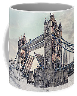 Coffee Mug featuring the digital art Tower Bridge by Pennie  McCracken