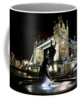 Tower Bridge With Girl And Dolphin Statue Coffee Mug