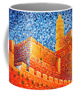 Coffee Mug featuring the painting Tower Of David At Night Jerusalem Original Palette Knife Painting by Georgeta Blanaru