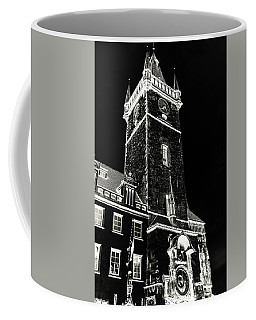 Coffee Mug featuring the photograph Tower Of Old Town Hall In Prague. Black by Jenny Rainbow