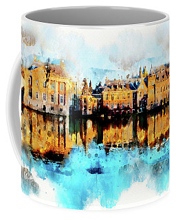 Coffee Mug featuring the digital art Town Life In Watercolor Style by Ariadna De Raadt