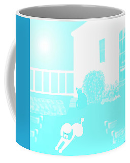 Toy Poodle Louie And Black Cat Jessica In The Yard Coffee Mug