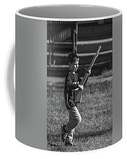 Coffee Mug featuring the photograph Toy Soldier At Fort Washington Bw by Jeff at JSJ Photography