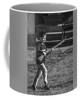 Coffee Mug featuring the photograph Toy Soldier Deploys Bw by Jeff at JSJ Photography
