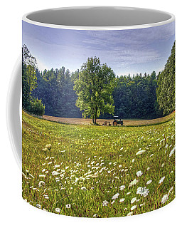 Tractor In Field With Flowers Coffee Mug