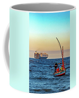 Traditional Fishing And The Container Ship Coffee Mug