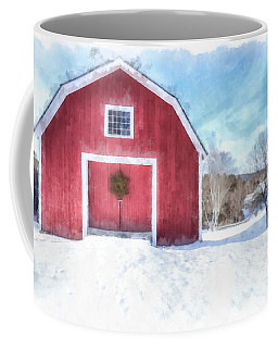 Traditional New England Red Barn In Winter Watercolor Coffee Mug