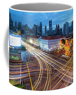 Traffic Light Trails In Singapore Chinatown Coffee Mug