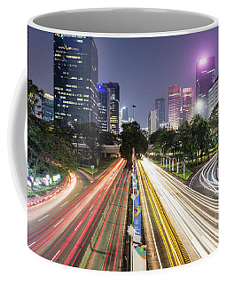 Traffic Night Rush In Jakarta, Indonesia Capital City.  Coffee Mug