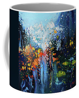 Coffee Mug featuring the painting Traffic Seen Through A Rainy Windshield by Dan Haraga