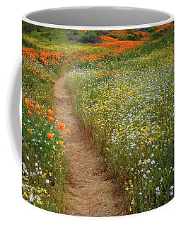 Trail Of Wildflowers At Diamond Lake In California Coffee Mug by Jetson Nguyen