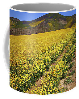 Trail Of Wildflowers Up The Temblor Range At Carrizo Plain National Monument Coffee Mug
