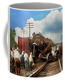 Coffee Mug featuring the photograph Train - Accident - Butting Heads 1922 by Mike Savad