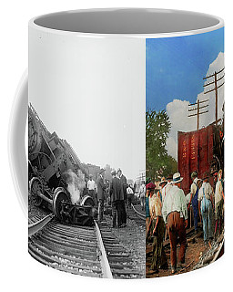 Coffee Mug featuring the photograph Train - Accident - Butting Heads 1922 - Side By Side by Mike Savad