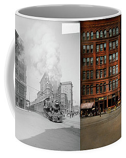 Coffee Mug featuring the photograph Train - Respect The Train 1905 - Side By Side by Mike Savad