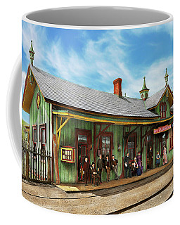 Coffee Mug featuring the photograph Train Station - Garrison Train Station 1880 by Mike Savad