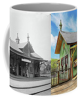 Coffee Mug featuring the photograph Train Station - Garrison Train Station 1880 - Side By Side by Mike Savad