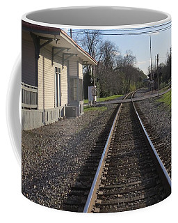 Coffee Mug featuring the photograph Train Station View by Aaron Martens