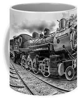 Train - Steam Engine Locomotive 385 In Black And White Coffee Mug