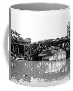 Coffee Mug featuring the photograph Trains Cross Jack Knife Bridge - Chicago C. 1907 by Daniel Hagerman