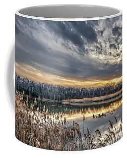 Tranquil Chesapeake Bay Pond During Winter At Sunset Coffee Mug