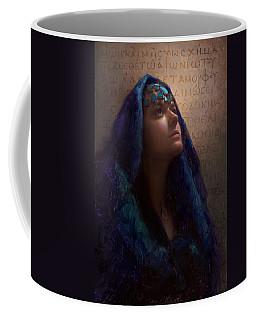 Transformation - Woman With Romans 12 2 Written In Original Greek  Coffee Mug by Karen Whitworth