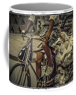Coffee Mug featuring the photograph Transport By Bicycle In China by Heiko Koehrer-Wagner