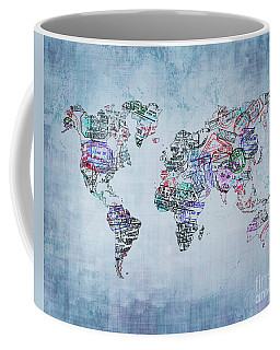 Traveler World Map Blue 8x10 Coffee Mug by Delphimages Photo Creations