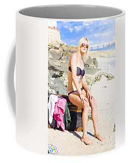 Coffee Mug featuring the photograph Traveling Tourist With Suitcase On Beach Vacation by Jorgo Photography - Wall Art Gallery