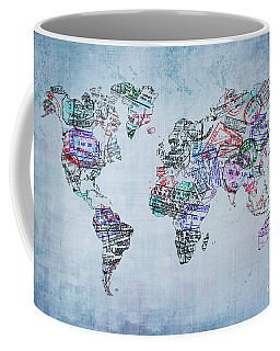 Traveler World Map Coffee Mug by Delphimages Photo Creations