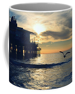 Seagull Pier Sunrise Seascape C1 Coffee Mug