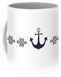 Treasure Knot And Anchor In Blue Coffee Mug