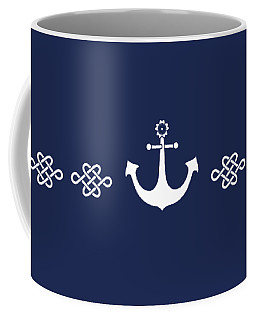 Treasure Knot And Anchor In White Coffee Mug