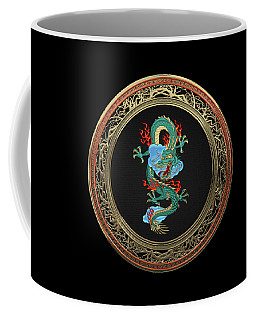 Treasure Trove - Turquoise Dragon Over Black Velvet Coffee Mug by Serge Averbukh