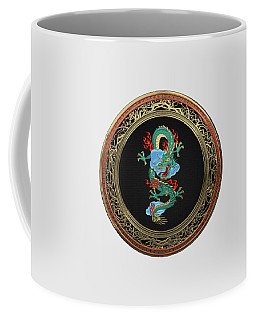 Treasure Trove - Turquoise Dragon Over White Leather Coffee Mug by Serge Averbukh