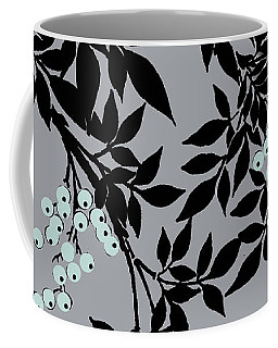 Tree Branches Leaves And Berries Iblack And Gray Coffee Mug