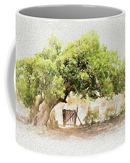 Coffee Mug featuring the photograph Tree By The Gate by Ola Allen