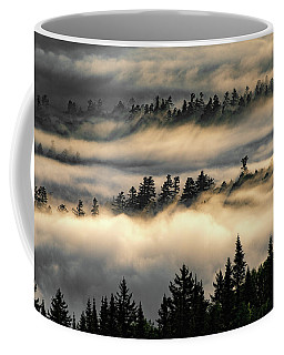 Coffee Mug featuring the photograph Trees In The Clouds by Brad Wenskoski