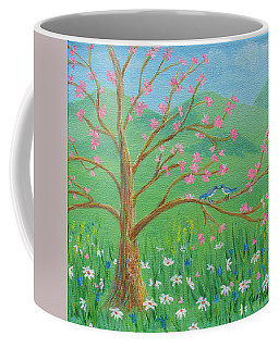 Coffee Mug featuring the painting Tree For Two by Nancy Nale
