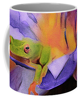 Coffee Mug featuring the mixed media Tree Frog In Repose by Susan Maxwell Schmidt
