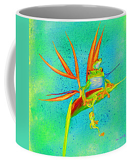 Tree Frog On Birds Of Paradise Square Coffee Mug