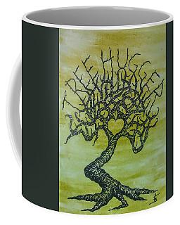 Coffee Mug featuring the drawing Tree Hugger Love Tree by Aaron Bombalicki