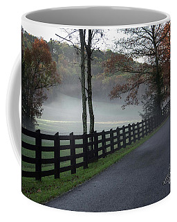 Tree Lined Road In The Fog Coffee Mug