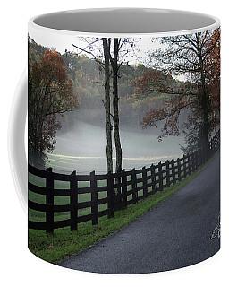 Tree Lined Road In The Fog Coffee Mug