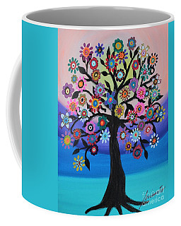 Coffee Mug featuring the painting Blooming Tree Of Life by Pristine Cartera Turkus