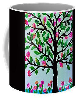 Coffee Mug featuring the painting Tree Of Essence by Pristine Cartera Turkus