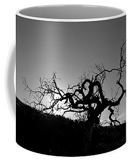 Tree Of Light Silhouette Hillside - Black And White  Coffee Mug
