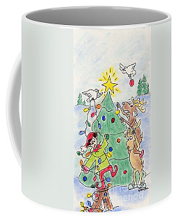 Coffee Mug featuring the drawing Tree Trimming by Vonda Lawson-Rosa