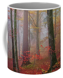 Coffee Mug featuring the photograph Tree Trunks In Fog by Elena Elisseeva
